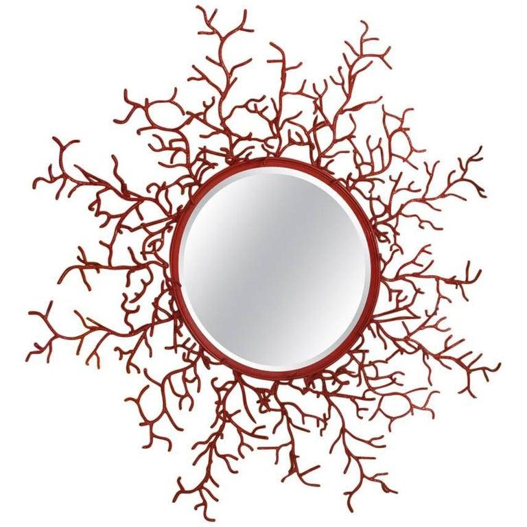 """Vintage Spanish Painted Metal """"Coral"""" Mirror"""