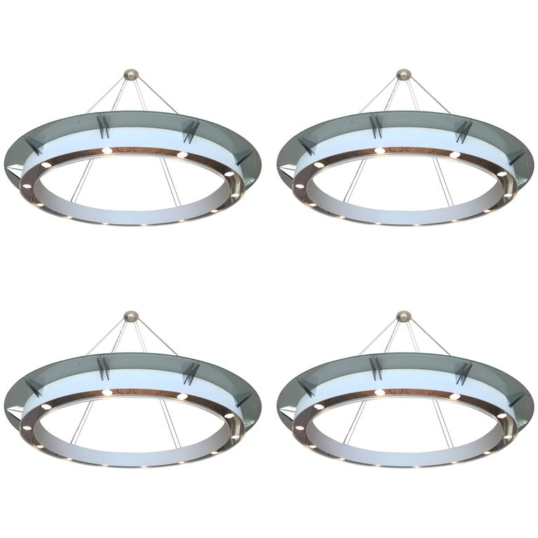 Set of Four Large Modern Chandeliers by Rodust & Sohn, Germany 2000s