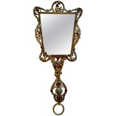 Filagree Hand Mirror with Stones