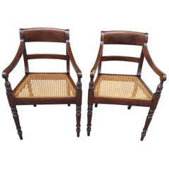 Pair of 19th Century Regency Mahogany Barbados Armchairs