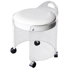 Round Bent Lucite Upholstered Bench Stool on Wheels
