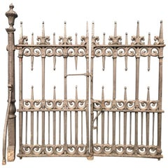 Pair of Gothic Revival Cast Iron Gates with Acorn Finials and the Original Posts