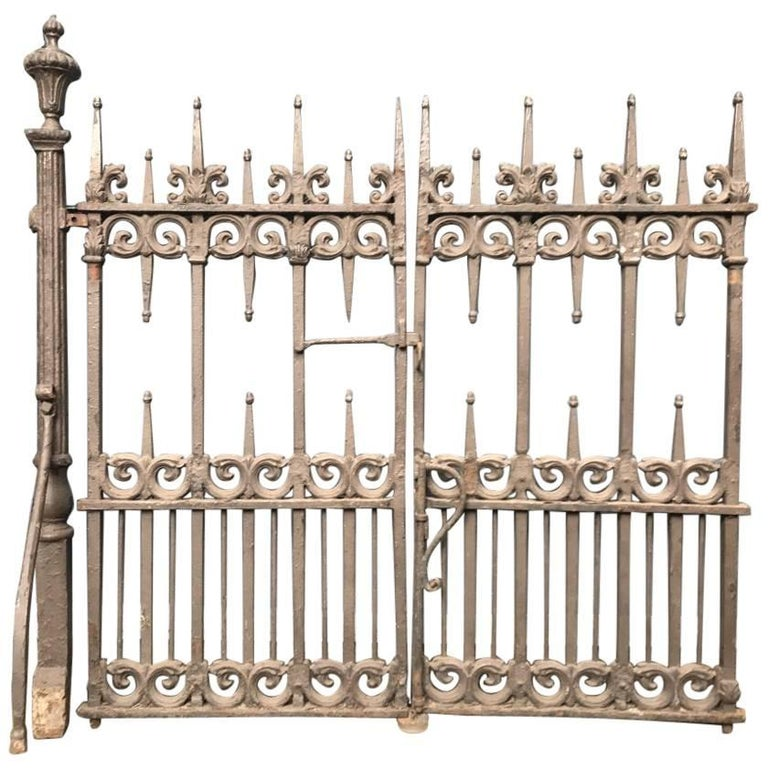 A Pair of Gothic Revival Cast Iron Gates with Acorn Finials & the Original Posts