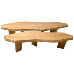 """Double Coffee Table in Oak """"Paula"""" by Jacques Jarrige"""