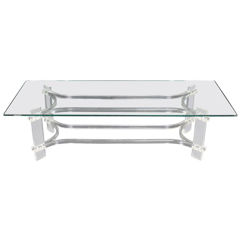 Modern Glass Coffee Table With Wheels: Rectangle Glass Top Bent Lucite Mid-Century Modern Coffee