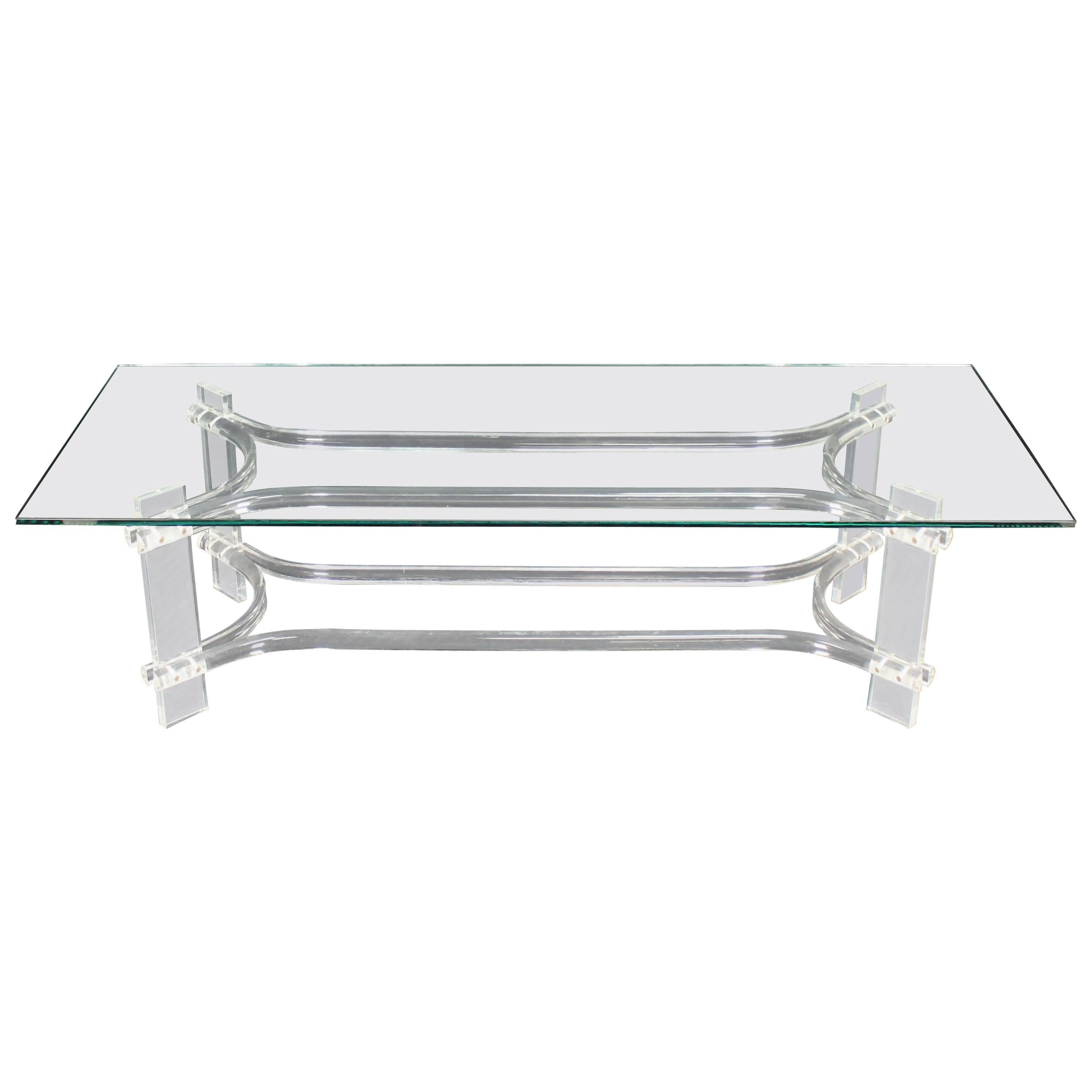 Rectangle Glass Top Bent Lucite Mid Century Modern Coffee Table For Sale