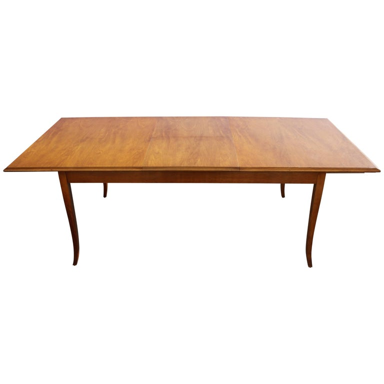 T.H. Robsjohn-Gibbings for Widdicomb Saber Leg Dining Table with Built in Leaves For Sale