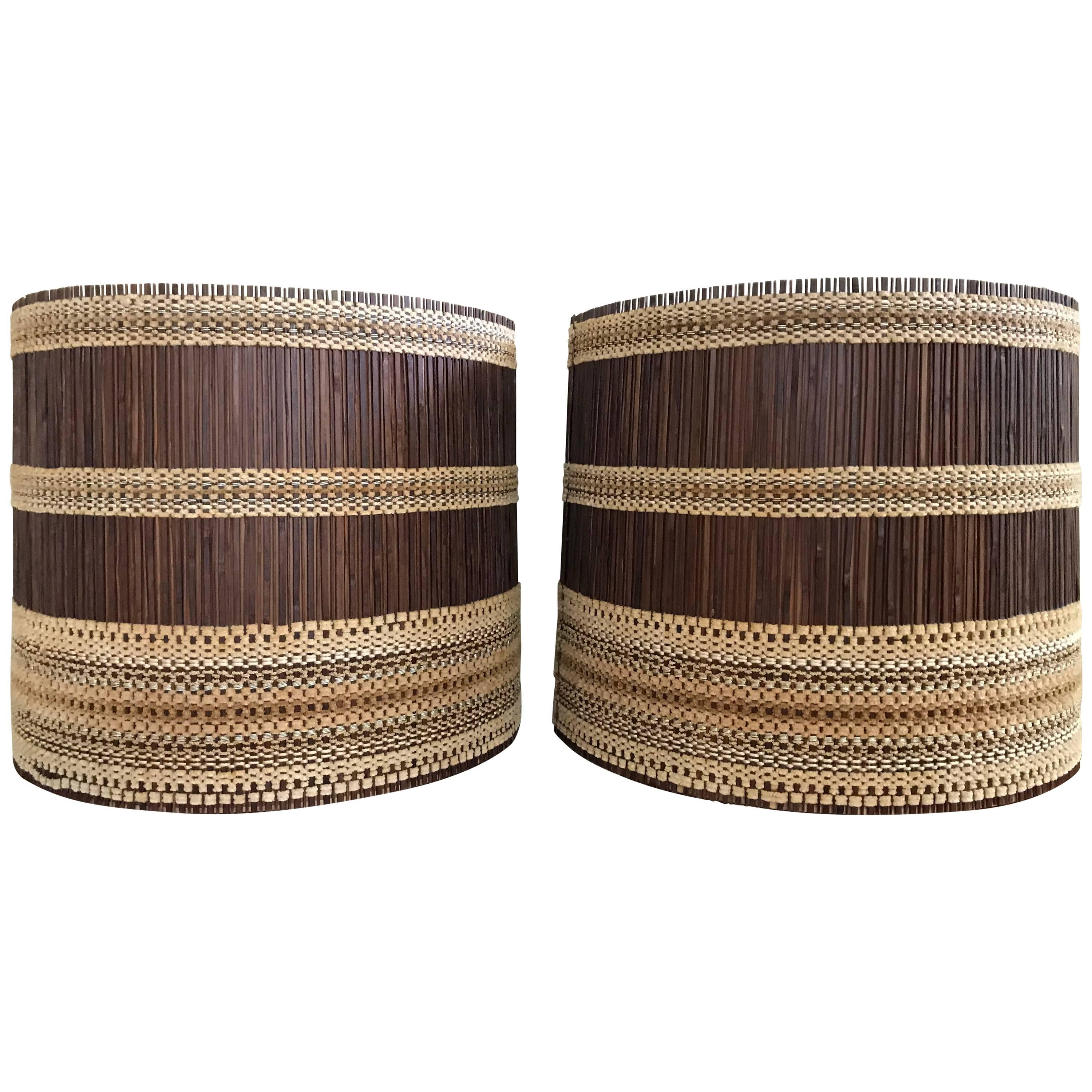 Pair Of Mid Century Modern Drum Cylinder Lamp Shades By Maria Kipp For Sale