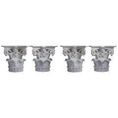 Four Large Corinthian Half-Capitals in Plaster, France, circa 1930