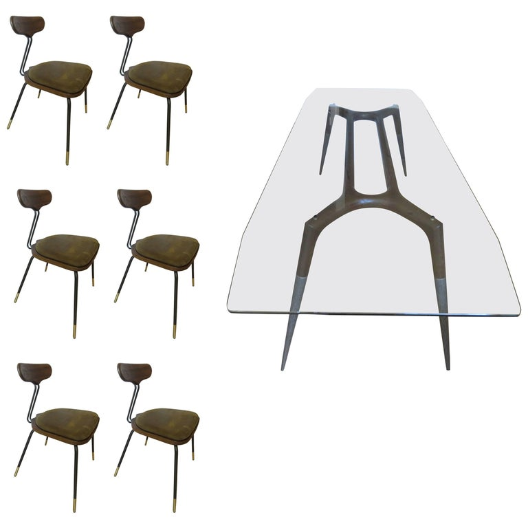 Italian Modern Dining Room Table and Six Chairs For Sale