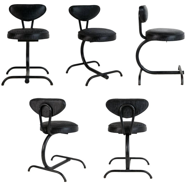 Cantilever Sharkskin Petite Chairs or Stools, Five, circa 1960