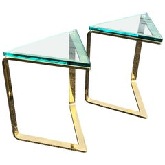 Pair of Geometric Brass and Glass Side Tables