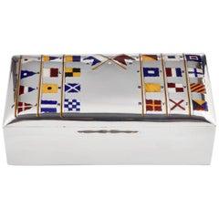 Antique Silver Novelty Cigar Box with Nautical Enamel Flags, Birmingham, 1927
