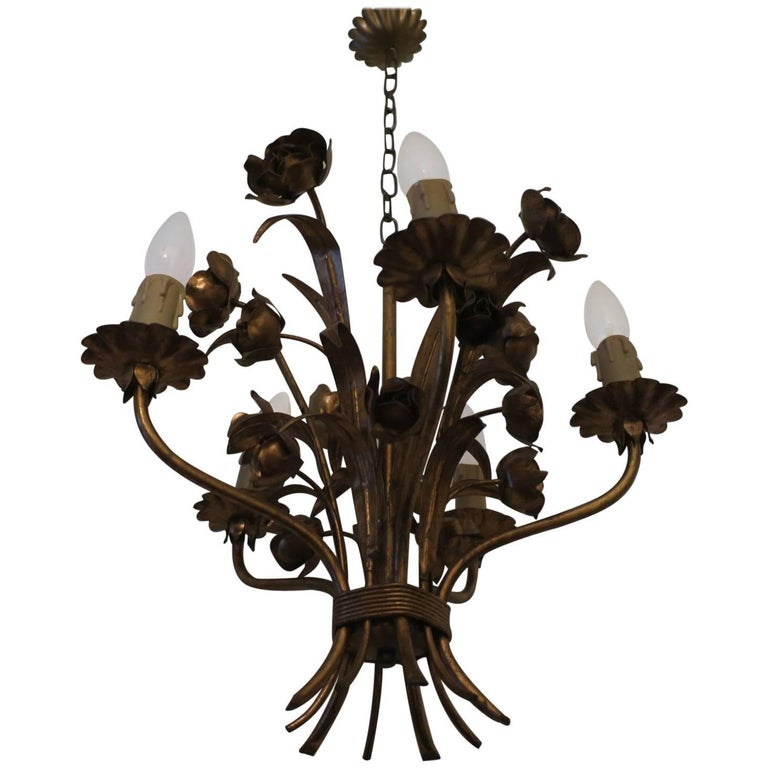 Patinated Vintage Gilt Tole Chandelier with Roses