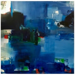 "Large Blue Abstract Painting Titled ""Holiday"" by Rebecca Ruoff, 2017"
