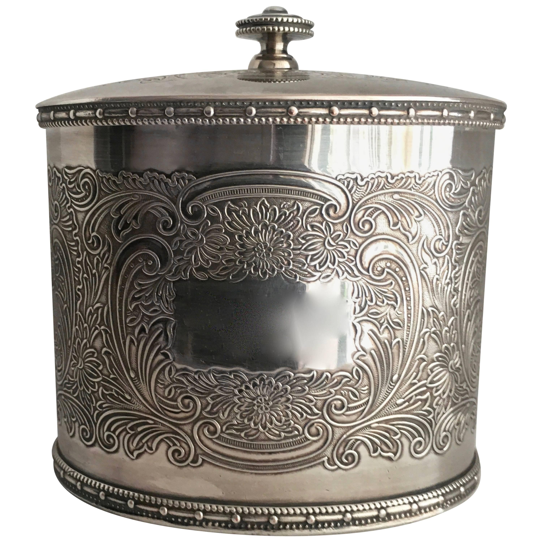 Barker Ellis English Silver Plate Tea Caddy Tobacco Jar