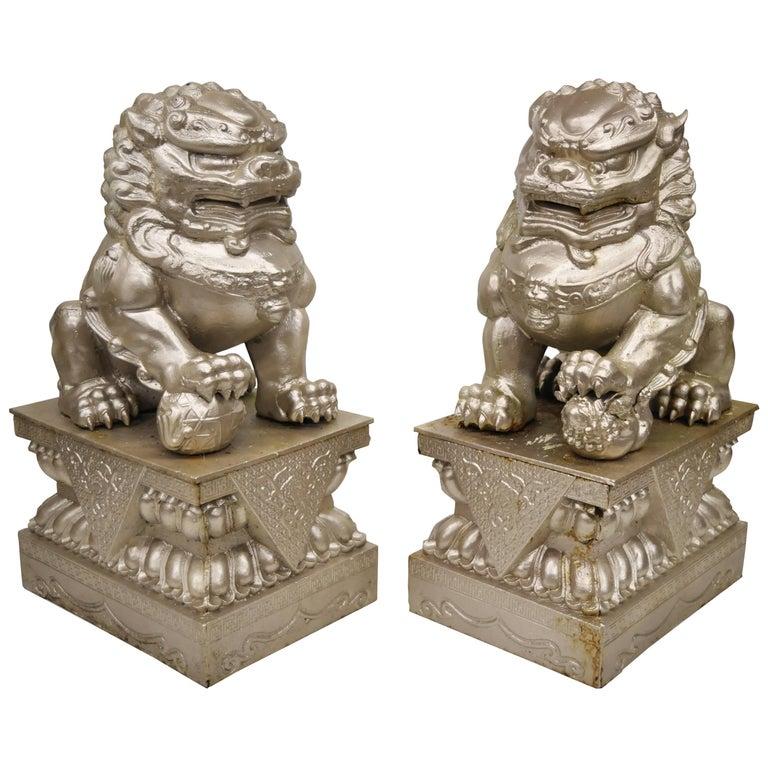 Large pair of cast iron foo dog guardian lion statue entryway garden sculpture for sale at 1stdibs - Wrought iron garden sculptures ...