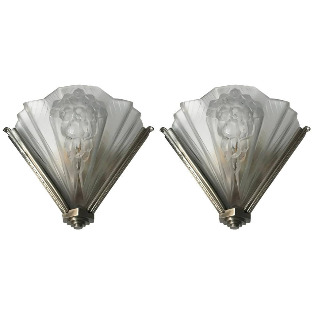 Pair of French Art Deco Signed Atelier Petitot Ribbed Wall Sconces