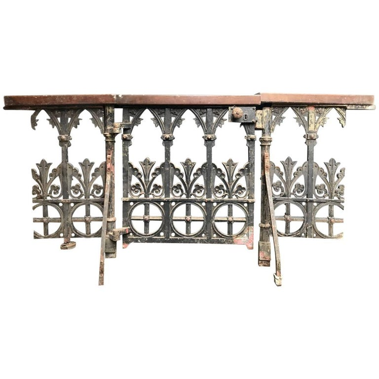 Gothic Revival Cast Iron Gate with Both Side Railings and Geometric Decoration