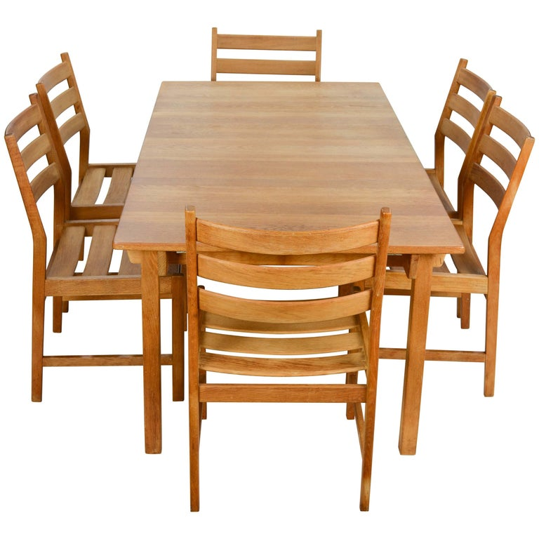 Kurt Ostervig Rustic Modern Oak Dining Set for KP Mobler of Denmark 1