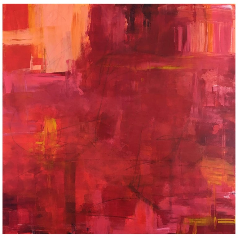 """Large Pink/Orange Abstract Painting titled """"Pink"""" by Rebecca Ruoff, 2017"""