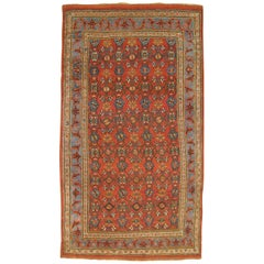 Antique Persian Bidjar Oriental Rug, in Small Size with Repeating Rosette Design