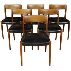 Teak Chair No. 77, Set of Six, Niels Moller for Moller Models, Denmark, 1960s