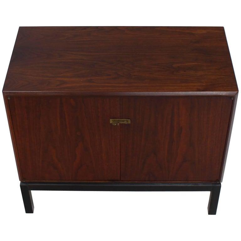 Danish Mid-Century Modern Oiled Walnut Bachelor Chest Cabinet Two-Door