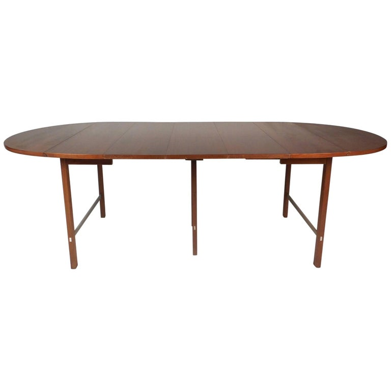 Modern Expandable Dining Table: Mid-Century Modern Expandable Drop-Leaf Dining Table By