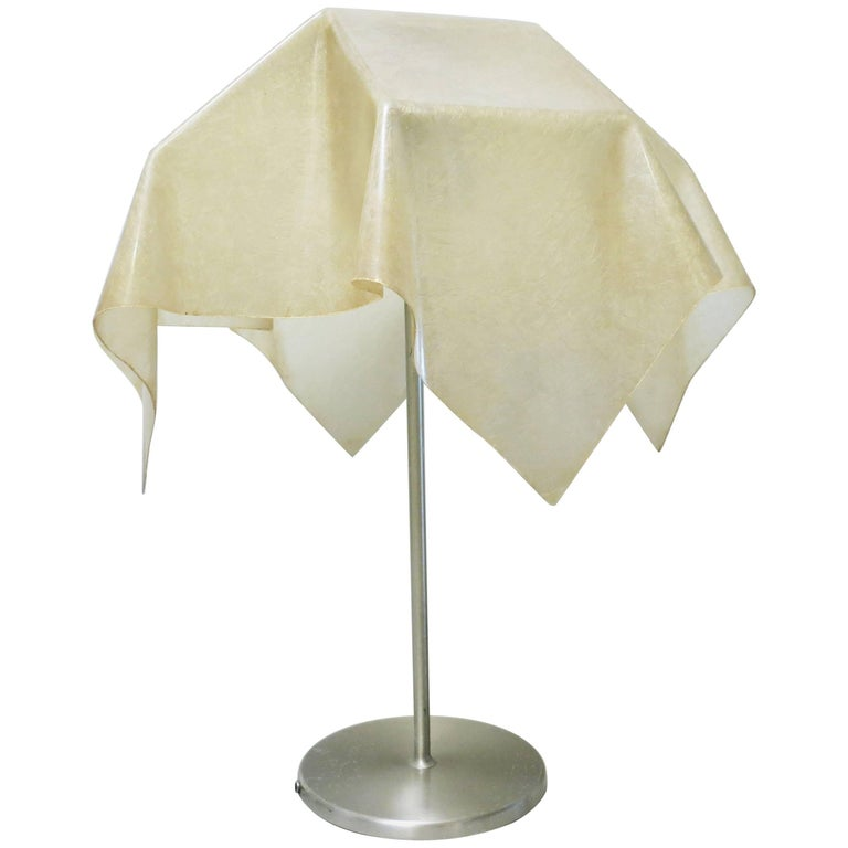 Italian Mid-Century Modern Lamp with Fiberglass Shade by Gregorietti