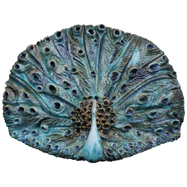 Extraordinary Ceramic Peacock For Sale