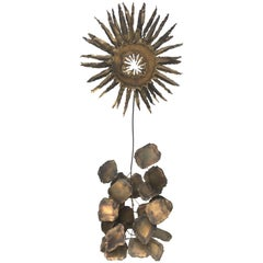 Brutalist Brass Art Sculpture of Sunflower on Abstract Rock Base
