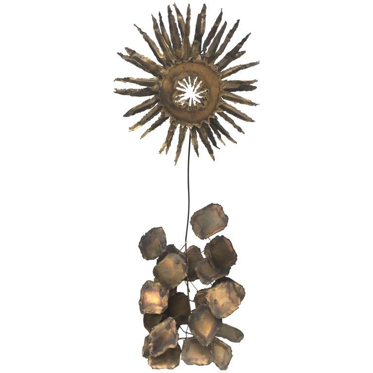 Brutalist Brass Art Sculpture of Sunflower on Abstract Rock Base