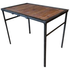 Unique Vintage Industrial Iron and Wood Table with Character