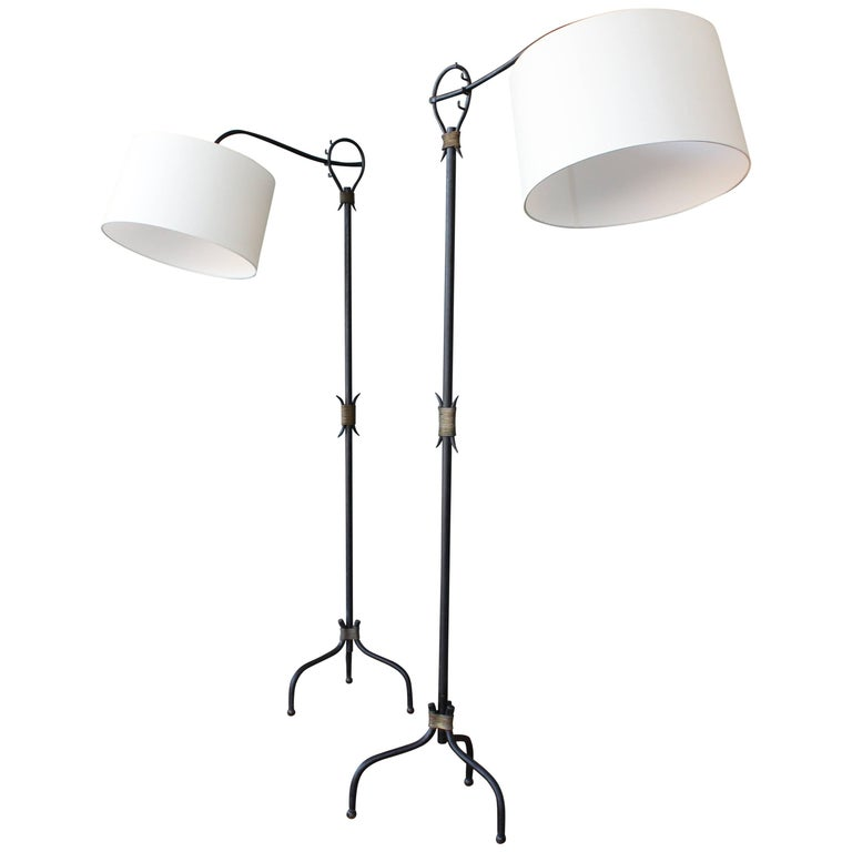 1950s Iron Floor Lamp in the Style of Jean Royère, Pair Available