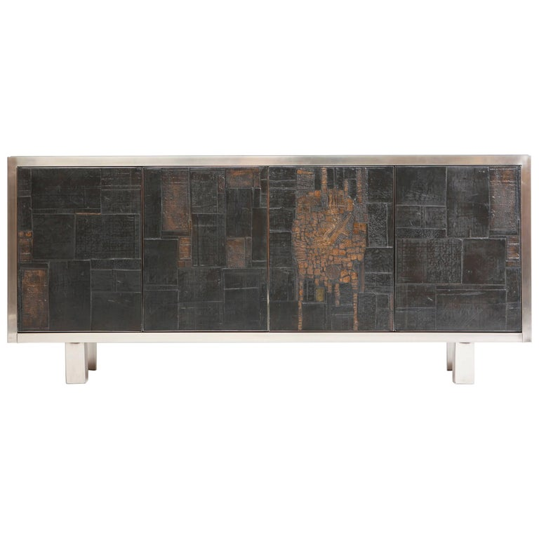 Pia Manu Ceramic Four-Panels Sideboard For Sale