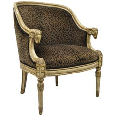 Barrel Back Ram's Goat Head Neoclassical Style Lounge Chair with Cheetah Fabric