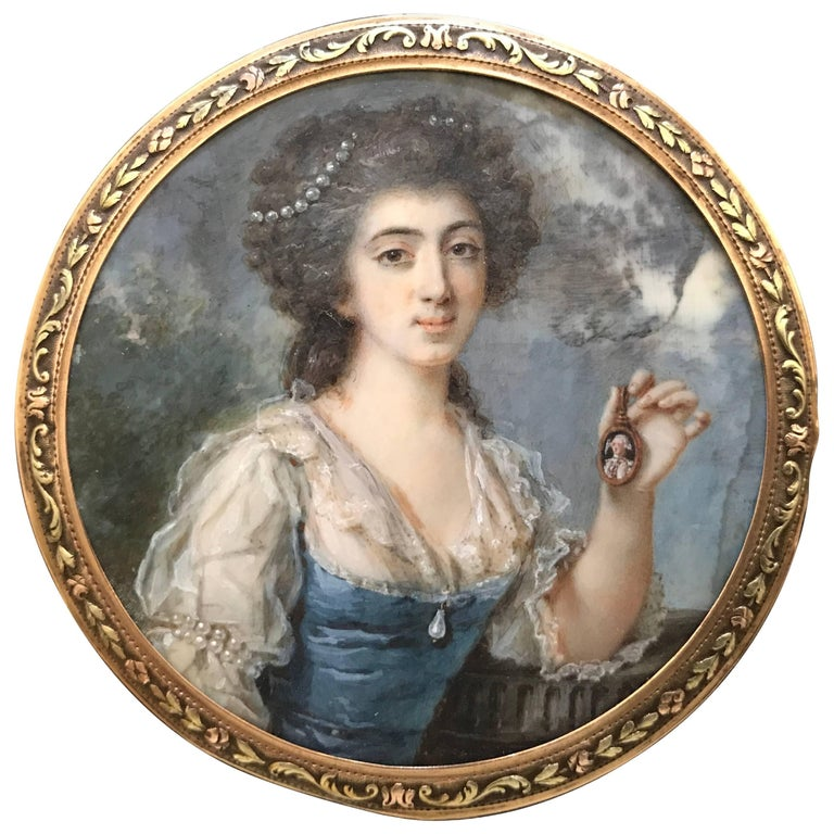 18th Century English Portrait Miniature of a Woman in Gold Frame
