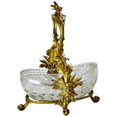 Early 20th Century French Empire Style Doré Bronze Cut Glass Basket Centerpiece