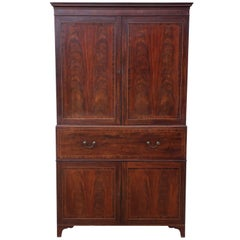 Antique Regency circa 1825 Mahogany Secretaire Linen Press Wardrobe