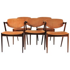 1960s Kai Kristiansen Set of Six Model 42 Dining Chairs in Rosewood
