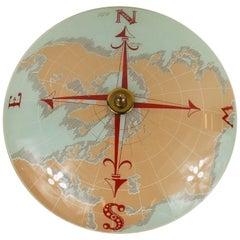 Mid Century World Map Nautical  Flushmount