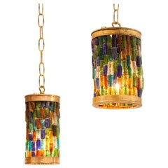 Forced Pair of Midcentury Murano Multi-Color and Brass Pendants
