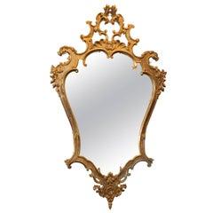 Hollywood Regency Carved Wood Mirror