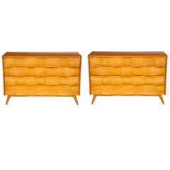 Pair of Edmond Spence Wave Front Chests, Sweden, 1950s