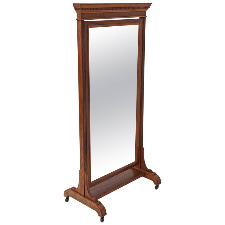 Antique Large Quality Victorian Walnut and Oak Cheval Mirror 1