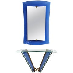 Cristal Arte Mirror and Console in Blue Glass, Italy, 1950s
