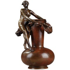 Late 19th Century Art Nouveau Bronze Vase by Jean-Paul Aubé