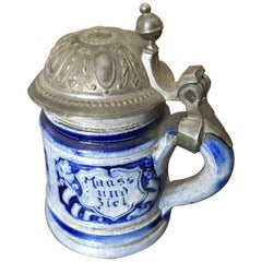 Miniature German Beer Stein with Pewter Lid