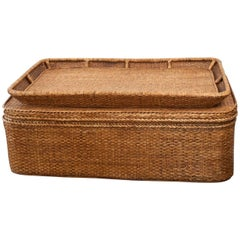 Midcentury French Woven Wicker Trunk or Coffee Table with Storable Tray